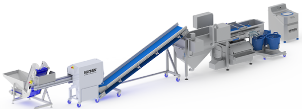 Salad processing line: Trimming - cutting - washing up to 800 kg/h